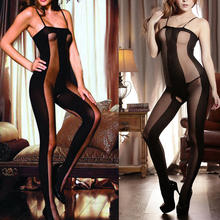 Sexy mujer negro Sun-top Sheer Full Body Stocking Legging monos Lencería ropa interior sexy cinturón sexual-35(China)