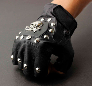 Image 1 - Męska prawdziwa skórzana czaszka punk rocker jazdy motocyklowe rękawiczki bez palców