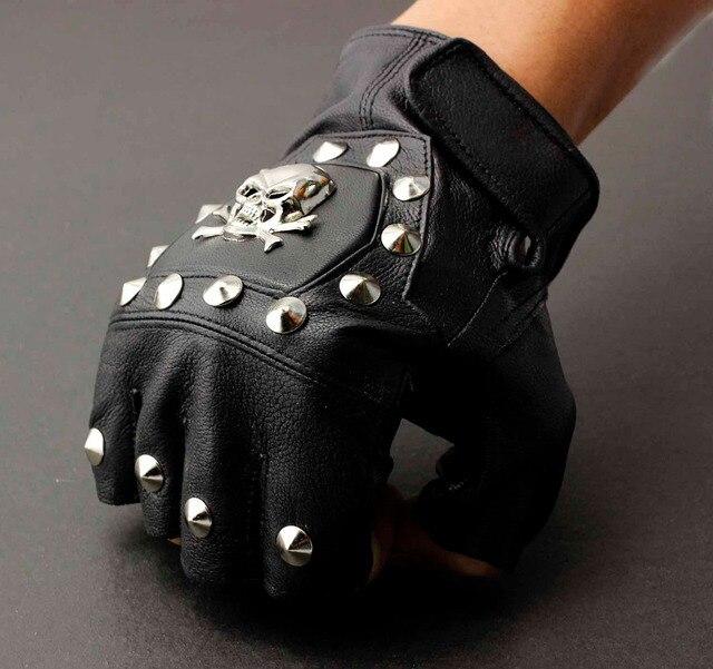 Męska prawdziwa skórzana czaszka punk rocker jazdy motocyklowe rękawiczki bez palców