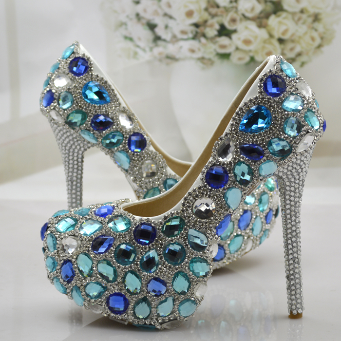 Wedding Shoes Women Pumps Blue Crystal Rhinestone High Heels Shoes Woman Elegant Thin Heels Bridal Shoes Diamond Party Shoes shoes women high heels sexy wedges platforms glitter diamond shoes wedding shoes rhinestone heels party shoes pumps