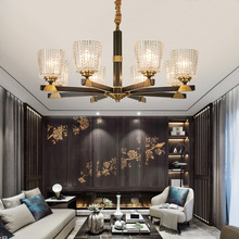 LED luxury Copper chandelier lighting living room pendant lamps American dining room fixtures bedroom hanging lights цена