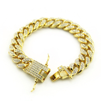 Dropshipping Hip Hop Bling Men's Bracelets with AAA Crystal Pave Gold Silver Cuban Link Chain Bracelet