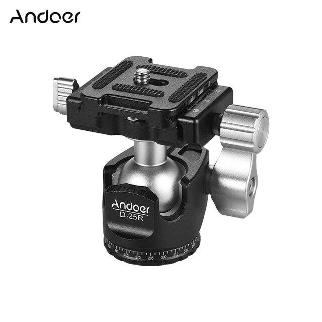 Andoer D 25R Lavorazione CNC Doppio Notch Testa A Sfera Mini Ballhead per Treppiede Monopiede per Canon/Nikon/Sony/ DSLR ILDC Fotocamere