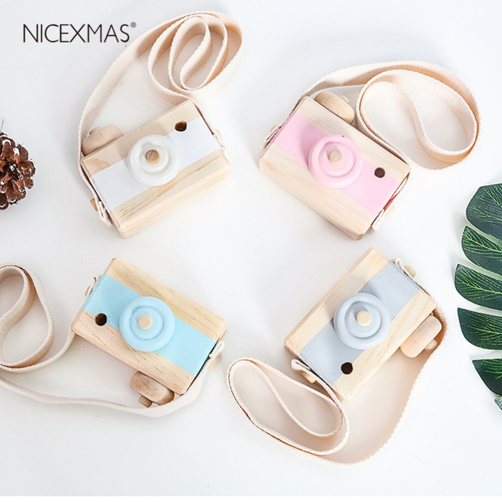 Cute Nordic Hanging Wooden Camera Toys Kids Toys Gift 9.5X6X3cm Room Decor Furnishing Articles Christmas Gift For Kid Wooden Toy