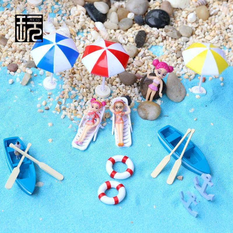 Boat/ Anchor/ Beach Chairs/ Sun Umbrellas/ Blue Sand Micro Seascape Decoration Fairy Garden Miniatures Zakka Craft wholesale