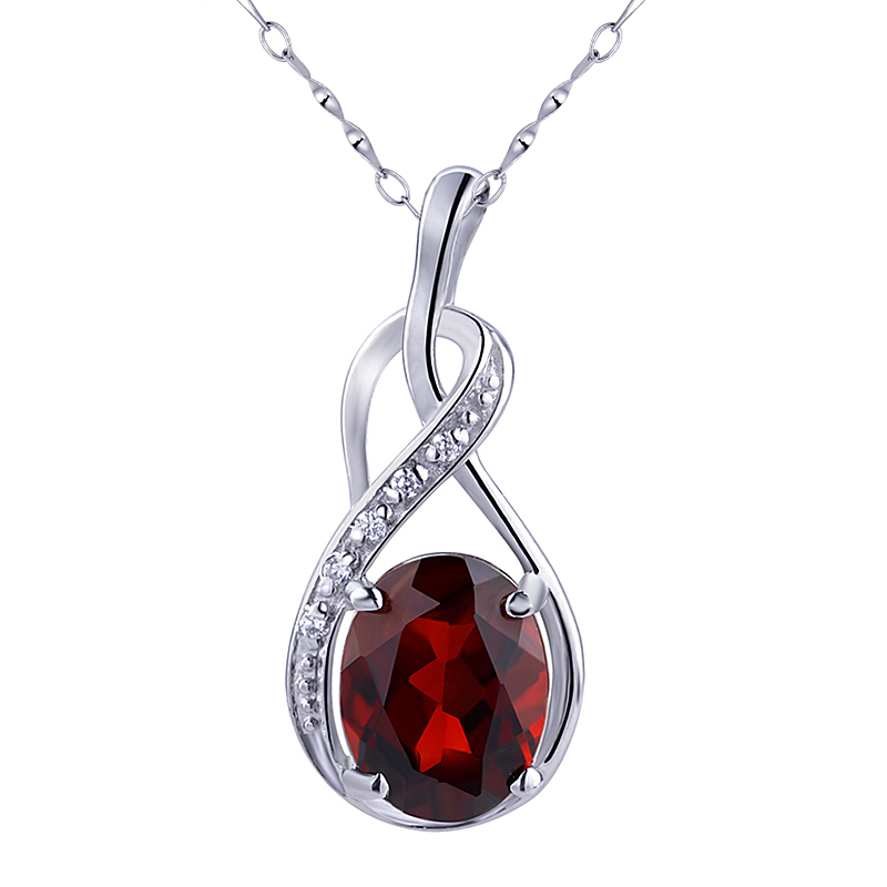 Pendentif grenat naturel Argent 925 Collier Femme Beaux bijoux à la mode élégante cristal de naissance SP0049G cadeau