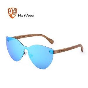 Image 1 - HU WOOD nuevas gafas de sol de moda hombres mujeres mariposa gafas de sol marco de madera Natural sin montura para conducir, para pescar UV400 GR8025