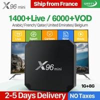 X96 Мини Android 7.1 smart ip ТВ коробка 4 К 4 ядра 1 год QHD ТВ товара подписки Европа Каналы X96mini французский арабский IP ТВ коробка