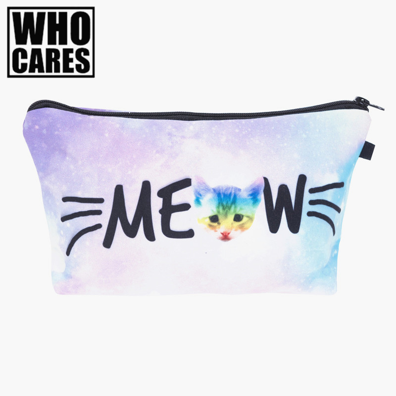 Meow rainbow cat 3D Printing cosmetic bag Fashion women makeup bag 2017 who cares trousse de maquillage pencil bags necessaire