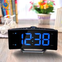Radio Projection Alarm Clock Large Led Mirror Display Electronic Digital Luminous Table Clocks Usb Charging Function