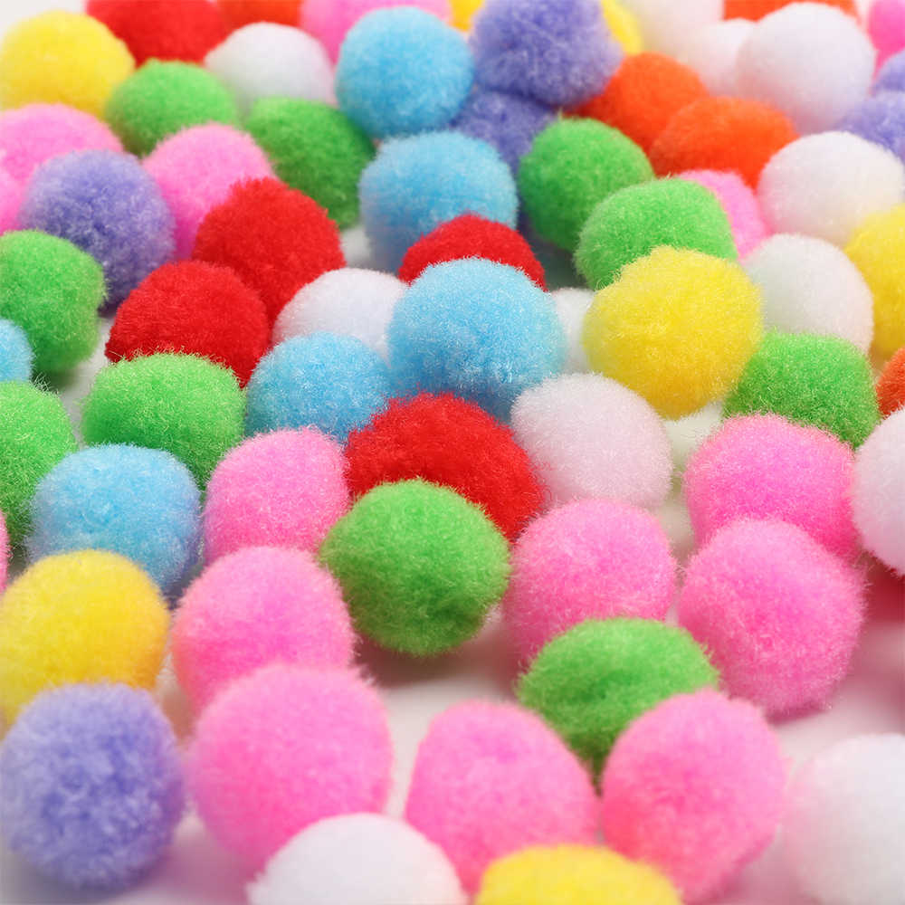 100pcs 10/15/20/25/30/40mm Mini Colorful Fluffy Soft Pom Poms Pompoms Ball Handmade Kids Toys Lovely DIY Sewing Craft Supplies