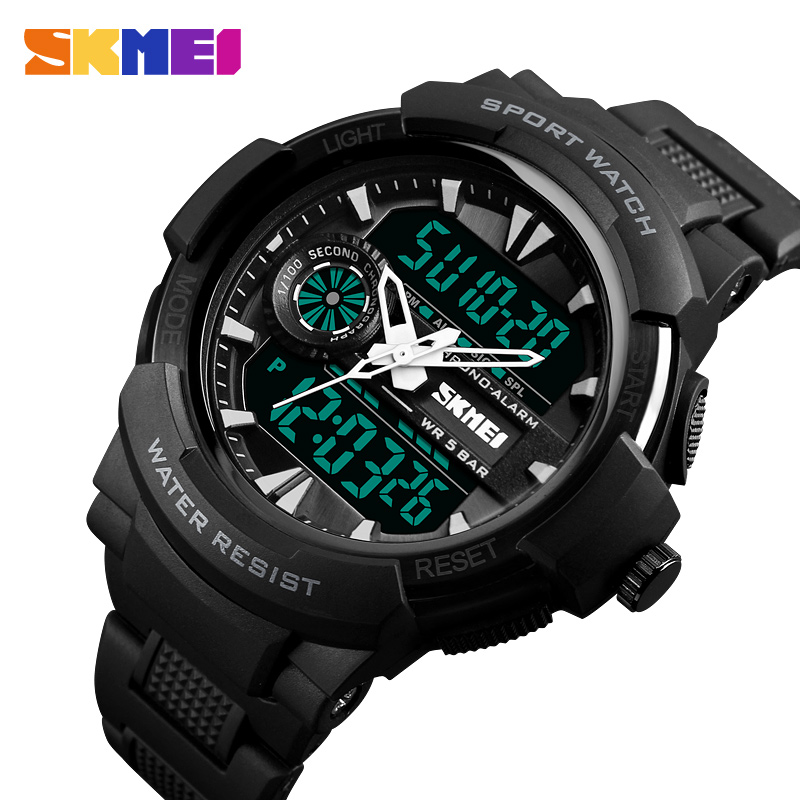 SKMEI Outdoor Sport Top Luxury Watch Men PU Strap 5Bar Waterproof Watches Dual Display Wristwatches relogio masculino 1320|Quartz Watches|   - title=