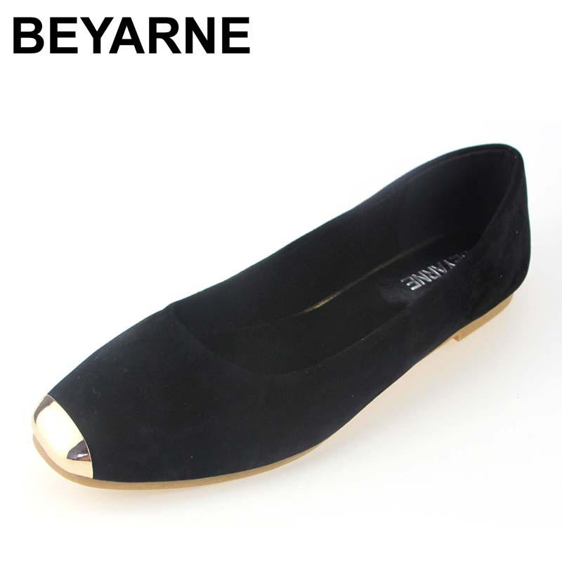 BEYARNE basic Spring and Autumn Flats for Women fashion shoes woman flat heels womens shoe zapatos mujer 35-43 free shiping beyarne rivets decoration brand shoes flats women spring autumn fashion womens flats boat shoes sexy ladies plus size 11