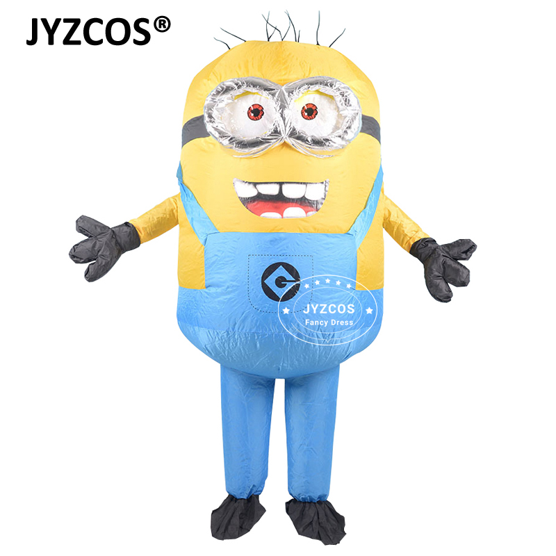 JYZCOS Adult Inflatable Minion Costume Halloween Carnival Party Cosplay Costume Double Eyes Minions Mascot Fancy Dress Outfits (5)