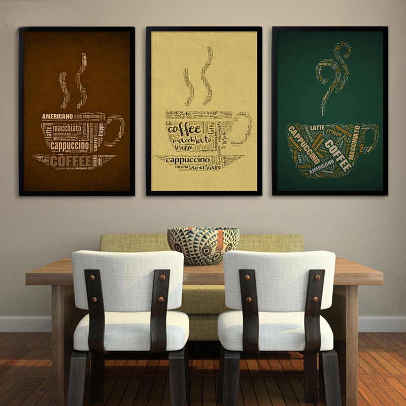 SURE LIFE Vintage Coffee Cup Poster Paintings on Canvas Wall Art Print Wall Pictures for Bar Office Dinging Room Home Decoration