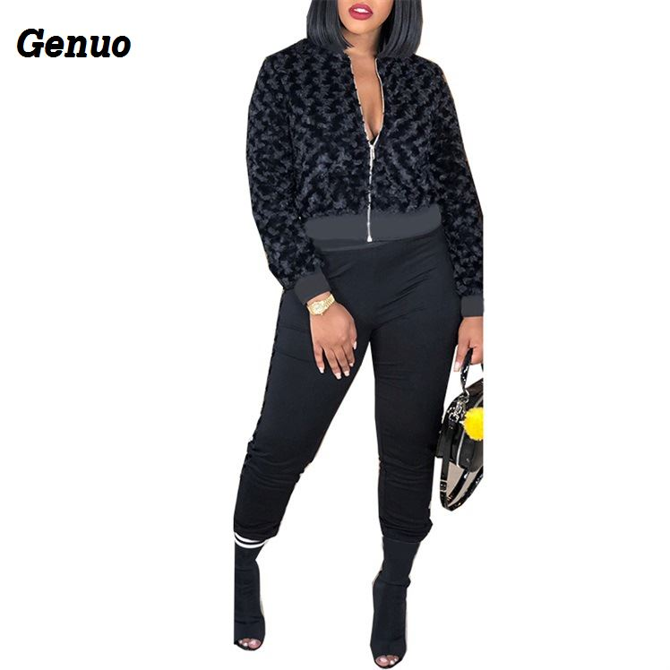 Women Tracksuit Casual Two Piece Set Woman Long Sleeve Short Jacket Coat Top and Pant 2 Piece Set Outfits Women Clothing Set in Women 39 s Sets from Women 39 s Clothing