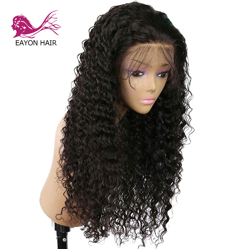 EAYON HAIR Brazilian Glueless Lace Front Human Hair Wigs Remy Loose Curly For Black Women With