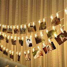 abay 1M 3M 4M Card Pictures Photos Clips Pegs Bright LED String Light Battery Power Indoor Home Party Festival Wedding Decor