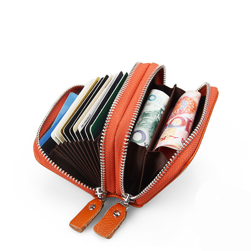 New Fashion Genuine Cow Leather Women Double Zipper Wallets Credit Card Wallet ID Holder Organizer Wallet Money Card Case Purse
