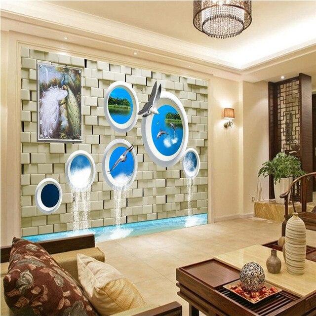 Beibehang Latar Belakang Modern Lukisan Besar Merak Batu Bata Lumba Cash Wallpaper Hotel