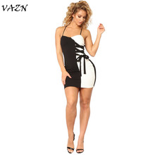 VAZN 2018 New Arrive Famous Brand Casual Women Dress Solid Halter Bandage Strapless Mini Dress Vestidos LM963