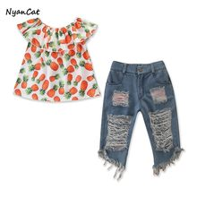 2019 Summer Autumn Toddler's Little Girl's Baby Girl Clothes Suit 2PCS Infant Baby Girls Strawberry Broken Denim Pants(China)