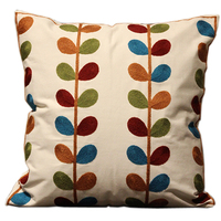 New Arrival 100 Cotton Embroid Sofa Cushion Cover Simple European Style Leaf Living Room Decor