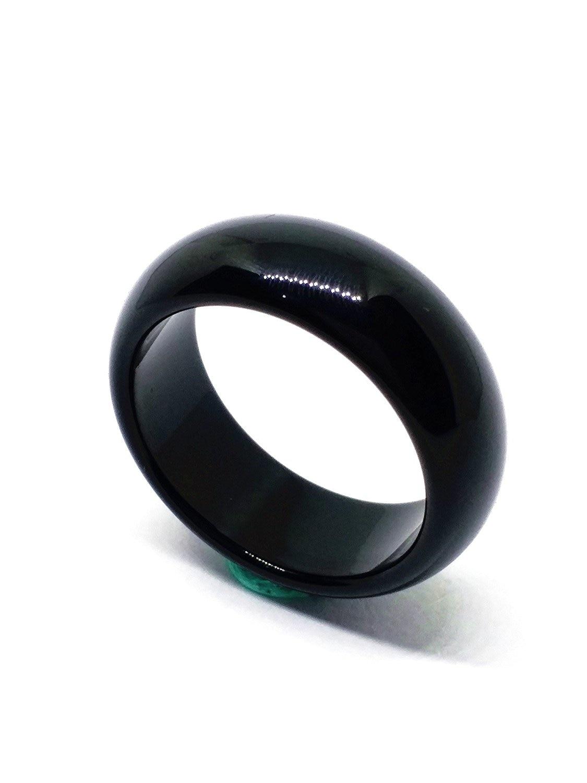 Mens Jade Natural Vintage Black Rings Ruby Stone Women Agate Gemstone Fine Jewelry Band 19MM Aneis Masculino Wedding Gift