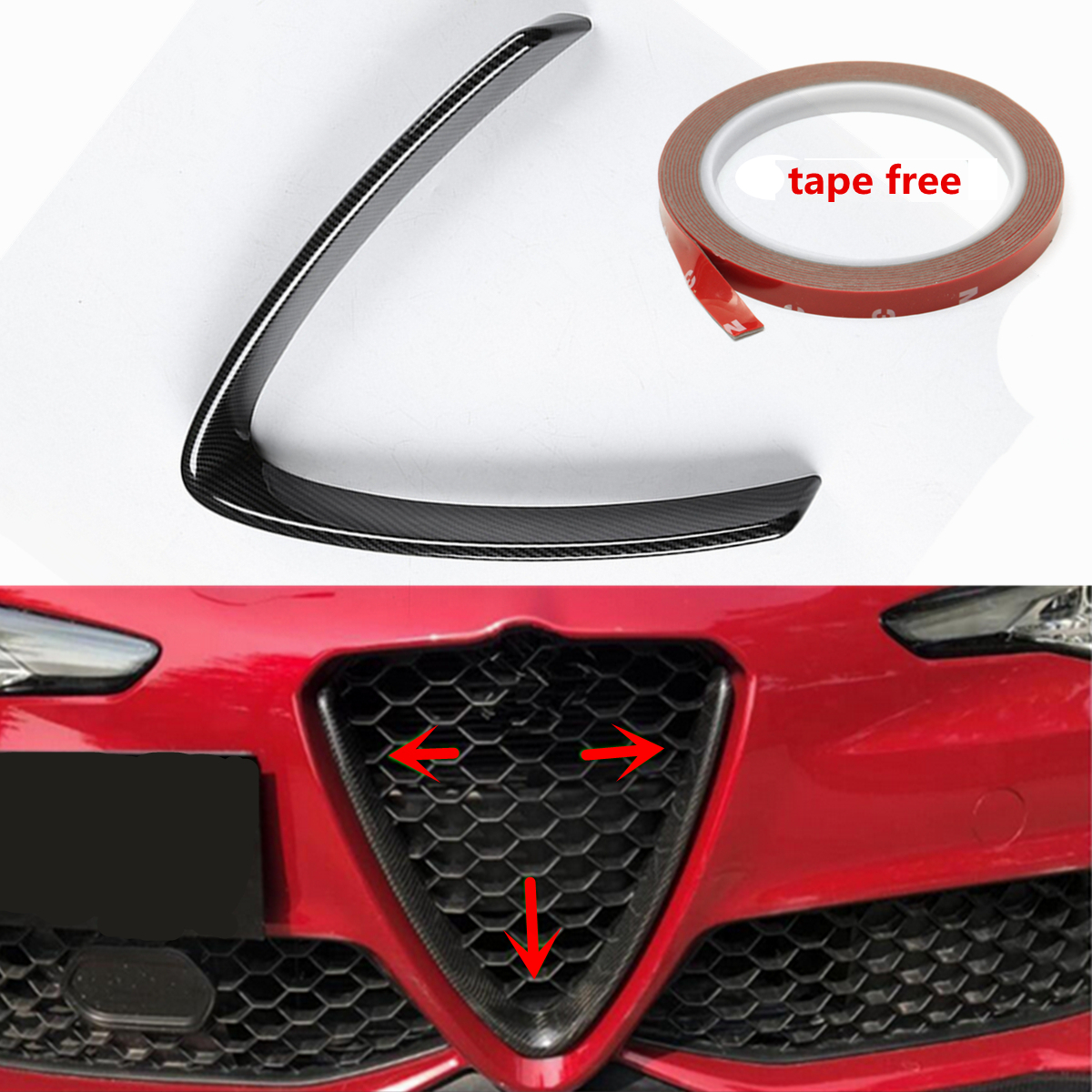 Car Carbon Fiber Front Grill Outline Trim Cover Overlay Styling for Alfa Romeo Giulia 2016 2017 2018 carbon fiber style for alfa romeo giulia 2017 2018 abs plastic co pilot decoration cover panel trim for left hand driver