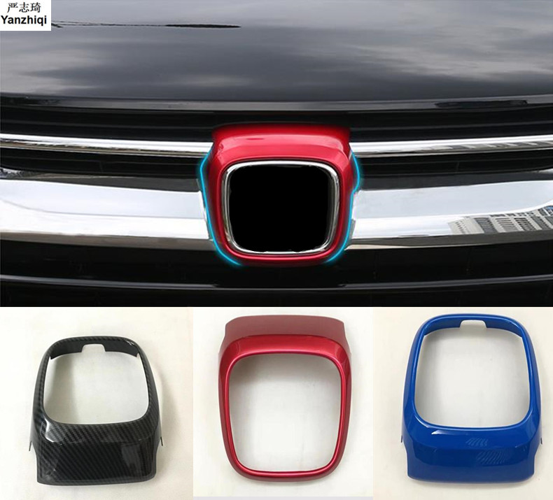 ABS Chrome/Carbon Fiber The Front Logo Position Decoration Cover Stickers Accessories For Honda CRV 2017 2018 Car Styling