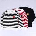 INS otoño nueva Europa patrón de rayas de Los Niños suéter de la muchacha ropa de bebé de algodón de manga larga knitting top