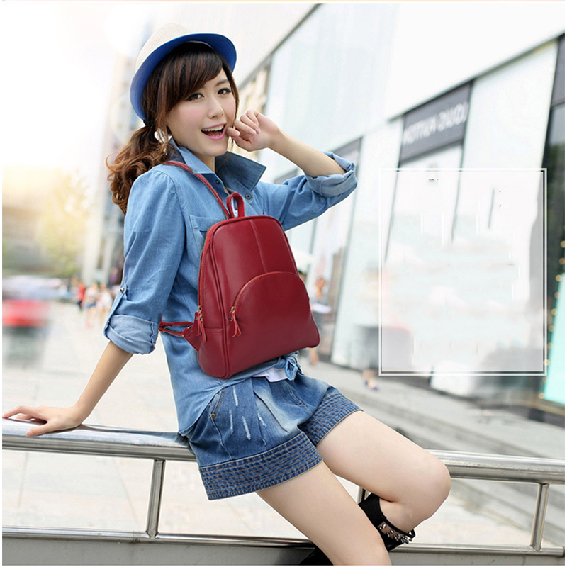 Women Backpack For Teenagers Girls Laptop Waterproof Female Casual Motorcycle Candy Color Zipper Genuine Leather Bags Designer in Backpacks from Luggage Bags