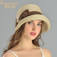 Charles Perra Sun Hats Female Spring Summer New Foldable Women Sunscreen Straw Hat Fashion Elegant Butterfly Knot 8720