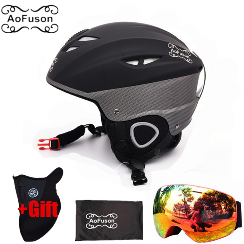 Ski Equipment Set Helmet With Goggle Safety Integrally molded Plus Size Plus Velvet Helmet Double Layers Anti fog Glasses-in Ski Helmets from Sports & Entertainment    1