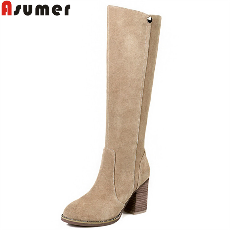 ASUMER 2018 fashion autumn winter boots zip round toe suede leather knee high boots women thick high heels boots ladies shoes ancient greek lace up leather suede knee high women boots round toe thick high heels fashion woman motorcycle boots shoes women