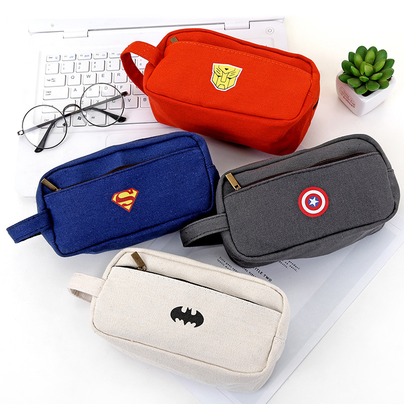 Cartoon Super Hero Series Pencil Case Cute Big Capacity Bat Pen Bags For Boy Girl Double Zipper Stationery Pouch School Supplies