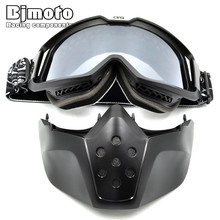 Windproof Motorcycle Riding Racing ATV Motorbike Scooter Detachable Goggles Eyewears Face Dust Mask Goggles glasses Mask Modular motorcycle mask goggles riding windproof motocross goggles riding skiing moto bike detachable modular dust helmet goggle glasses