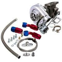 For HYBRID T3 T4 T03 T04 Turbo V band 2.0L 3.5L Engine Turbocharger Oil Line Kit 0.63 A/R 4 bolts Flange Turbo charger