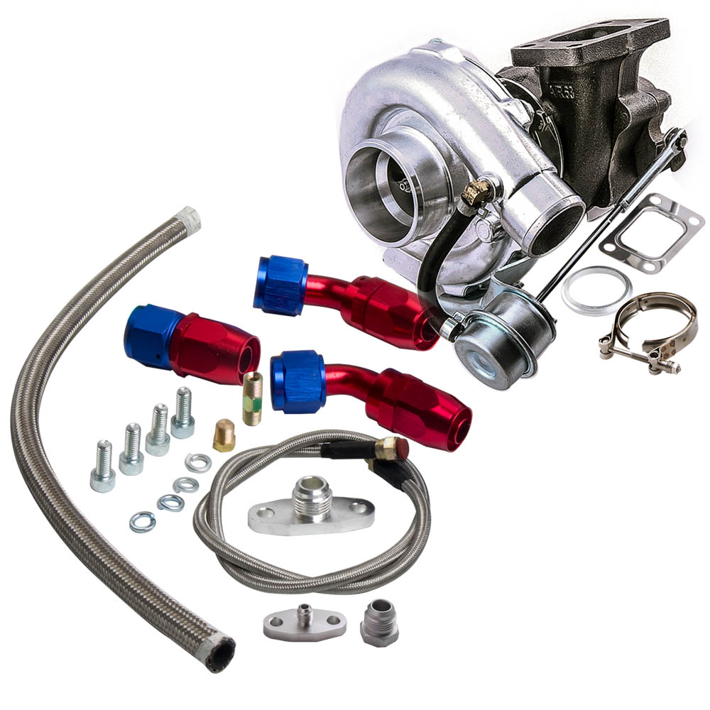 For HYBRID T3 T4 T03 T04 Turbo V band 2.0L 3.5L Engine Turbocharger Oil Line Kit 0.63 A/R 4 bolts Flange Turbo charger