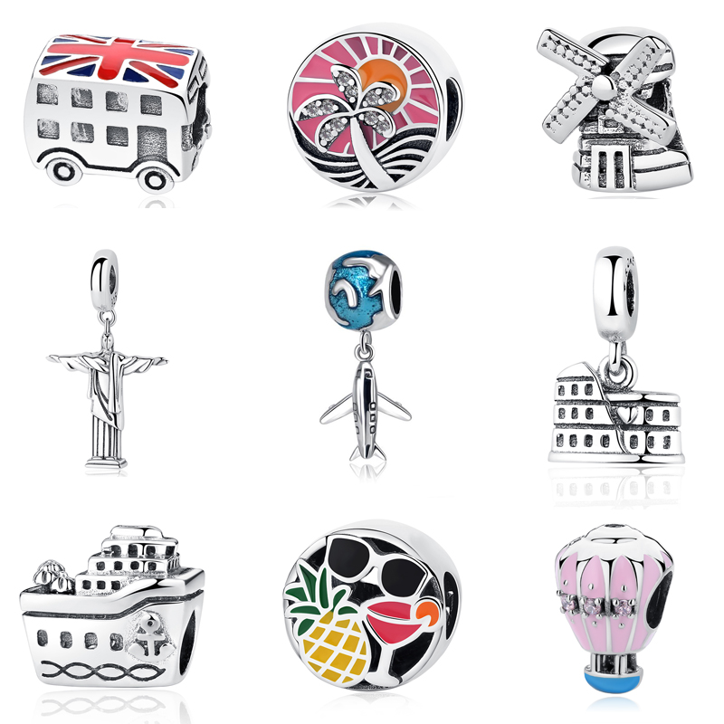 Authentic 100% 925 Sterling Silver Charm Beads Love to Travel Theme Charms Fit Original Pandora Bracelets Women DIY Jewelry цена