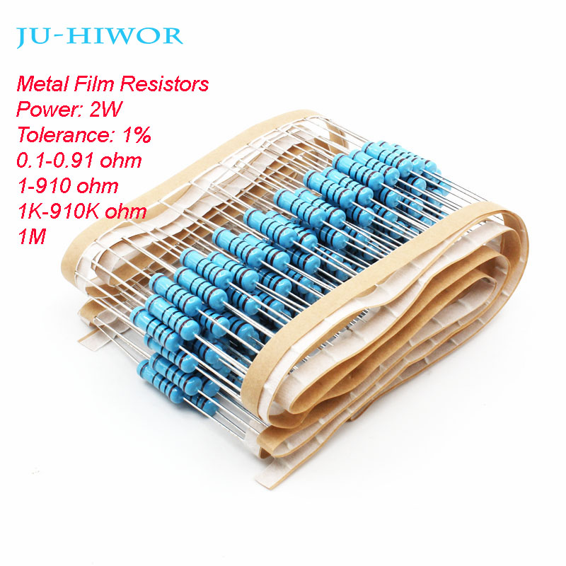 20pcs Metal Film Resistors 2W 1% Tolerance 0.1-0.91 1-910 1K-910K 1M Ohm 100 200 300 1K 2K 3K Resistors For Diy
