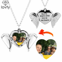 lovty Angel Wings Heart Custom Photo Pendant Necklace for Women Long Chain Necklaces Personalized Custom Photo Jewelry Gift
