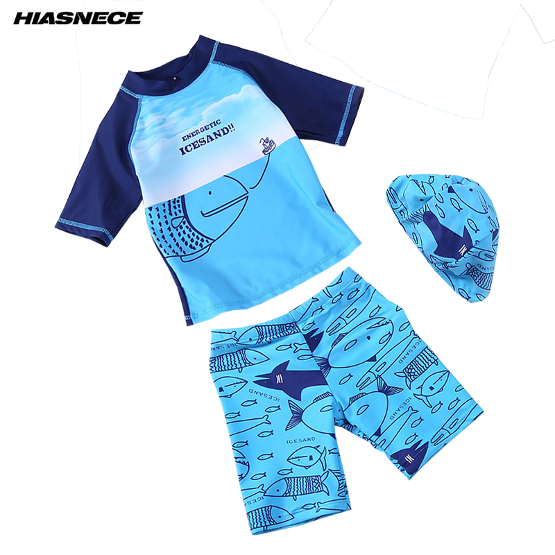 5ad68ed62b Boy Swimwear Two Piece Shirt Boxer Shorts Swimming Cap Cartoon Print kids  Children Baby Swimsuit Bathing suit Beach Wear 1-9 Y