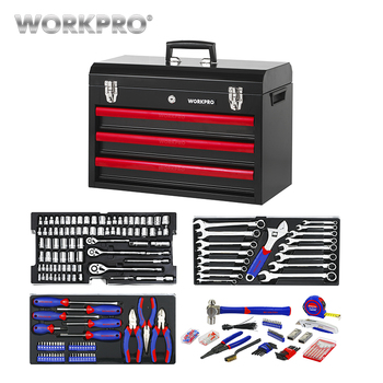 цена на WORKPRO 408PC Home Tool Set Hand Tools Metal Tool Box Household Tool Set