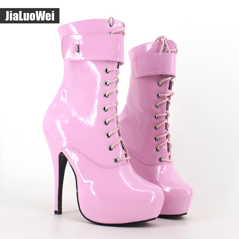 jialuowei 2019 Spring Sexy single boots Lace-Up 15cm High Thin heel 4CM platform ankle short boots ladies women's Padlocks boots