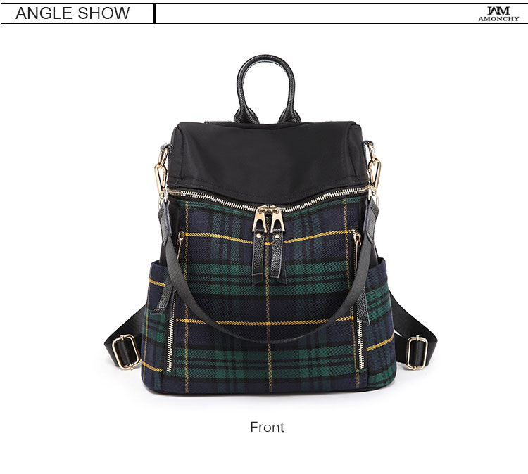plaid women backpacks genuine leather travel backpack for lady brand shoulder bags (6)
