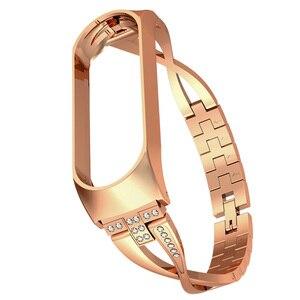 Diamond Wristband For Xiaomi Band 4 or 3 Replaceable Wrist Strap For Xiomi Xaiomi Xiami Xaomi Mi Xaiomy Metal Bracelet Women(China)