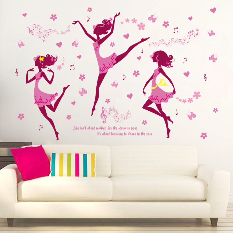 Dancing girl graceful dance wall stickers home living room sofa background wall girl bedroom removable mirror mural flowers