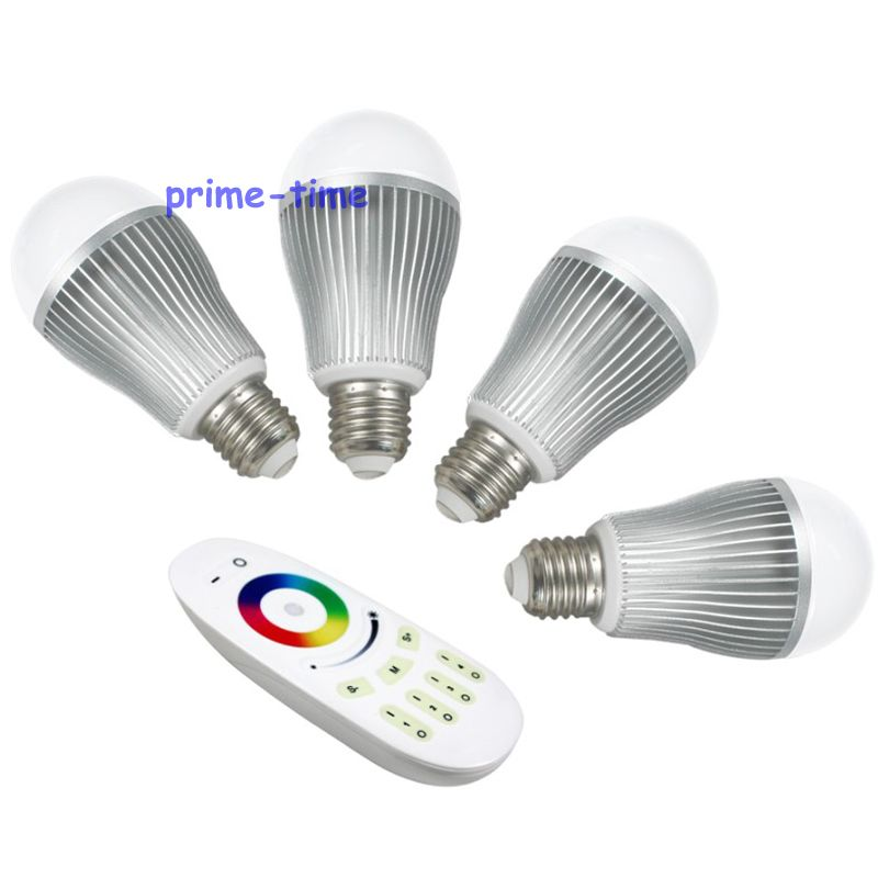 Milight 4-Zone RF Touch Remote Controller + 4pcs 2.4G E27 9W RGBW RGBWW RGB+ Cool/Wam White Full Color Dimmable WiFi LED Bulb mi light wifi led controller 4x2 4g dc12v 24v led controller rgbw 4 zone rf remote control for 5050 3528 led strip light