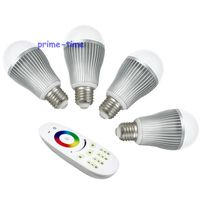 Milight 4 Zone RF Touch Remote Controller + 4pcs 2.4G E27 9W RGBW RGBWW RGB+ Cool/Wam White Full Color Dimmable WiFi LED Bulb